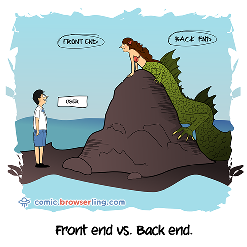full stack cartoons and jokes about front end and back end developers