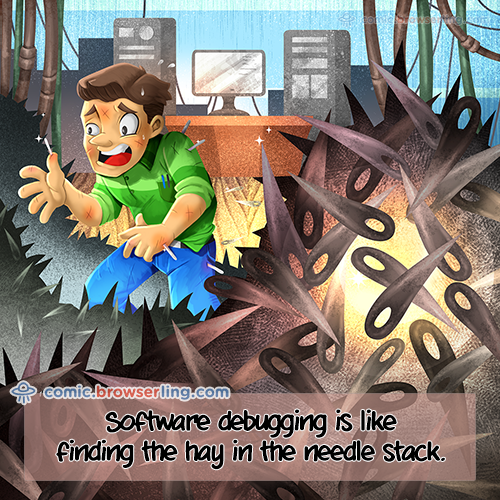 Software debugging is like finding the hay in the needle stack.